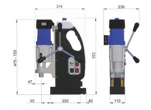 Магнитный сверлильный станок МАВ-845:габаритные размеры